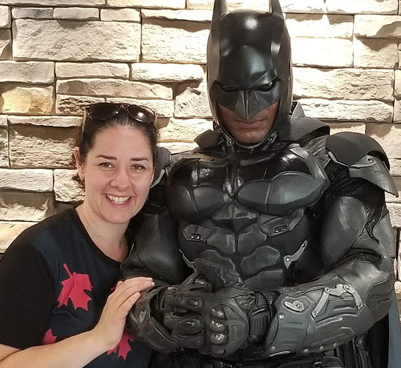 Angie Hallman, Chair of Canada Day in Wilmot, with special guest, Batman (Photo Canada Day in Wilmot)
