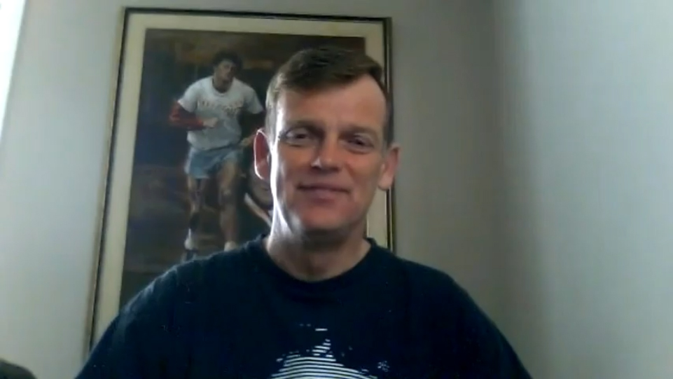 Terry Fox's younger brother, Darrell Fox, during an interview with Nigel Gordijk