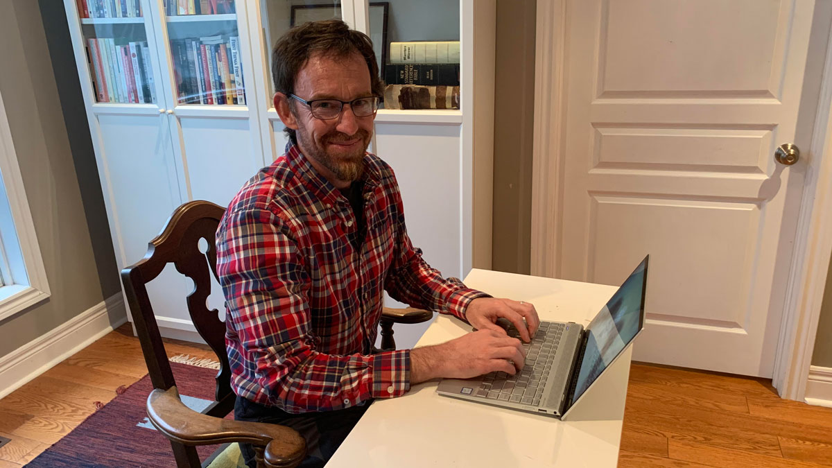 "Interfaith Counselling Centre's Interim Executive Director Matthew Isert Bender is temporarily working from home, rather than the agency's New Hamburg-based offices. ""It's almost like starting a new job."" Photo Hanneke Isert Bender"